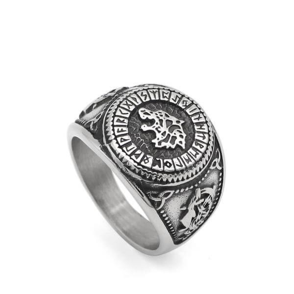 Veg-Visir, , 316L STAINLESS STEEL WOLF WITH RUNIC CIRCLE RING, Jewels, Jewelry, Vikings, Norse - Veg-Visir
