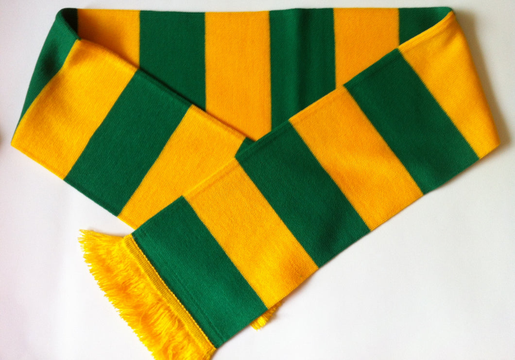 Green and Gold Bar Acrylic Football Scarf