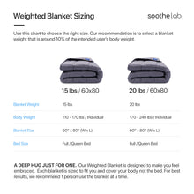 Load image into Gallery viewer, Weighted Blanket Size - Soothe Lab