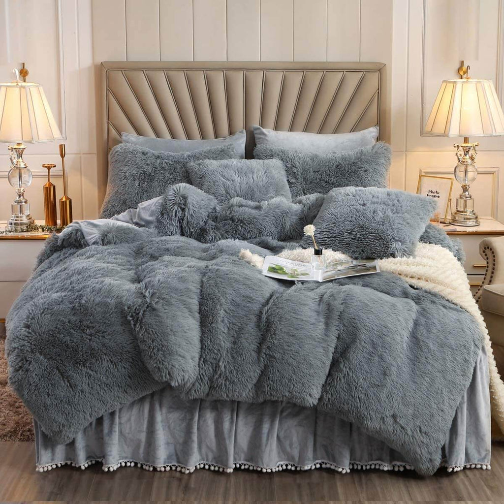 Faux fur throw cover | duvet cover bedding set | Faux fur throw blanket