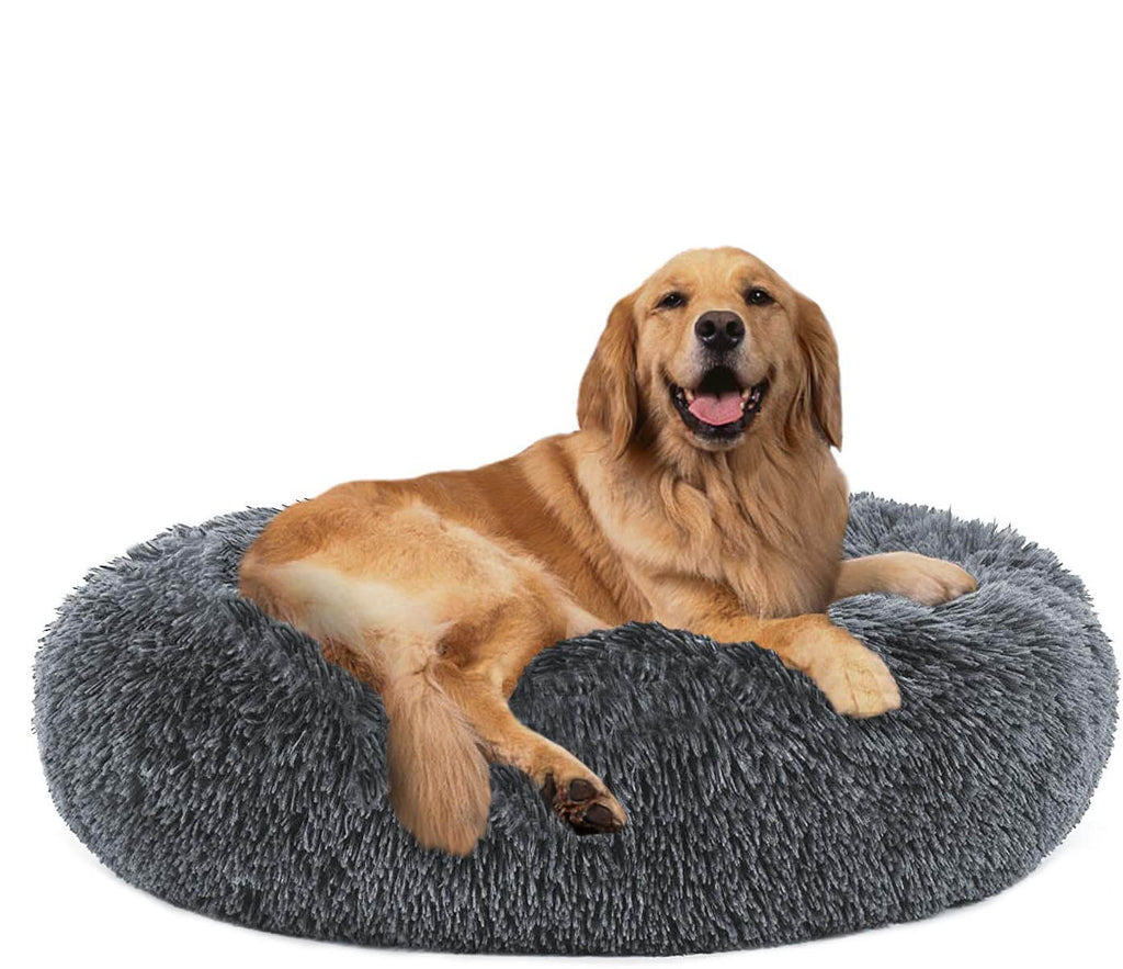 Round Plush Dog Bed Cat Bed Donut, Faux Fur Pet Bed Self-Warming Donut Cuddler