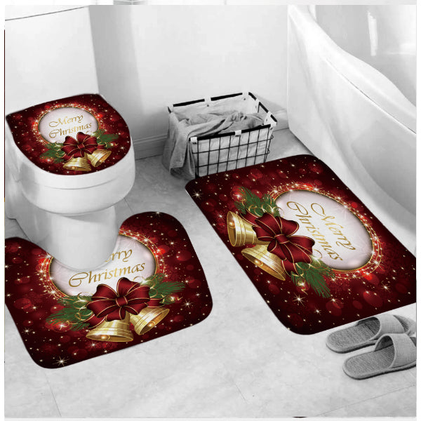 Christmas Shower Curtains for Bathroom Funny Christmas Decorations Bathroom Set