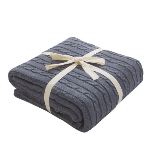"Woven Cotton Throw Chunky Blanket 70""x80"""