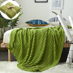 COTTON OVERSIZED CABLE KNIT THROWS BLANKET