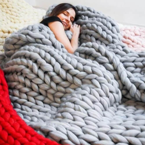 Chunky Knit Throw Chenille Bulky Blanket