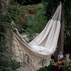 Single Hammock, hand-woven Natural, Cotton Special Fringe