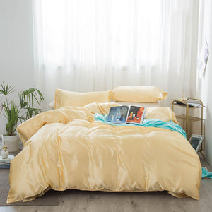 4 Piece Silky Bedding Sets(1 Duvet Cover +1 Bed Sheets+ 2 Pillowcases )