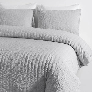 Seersucker Washed Cotton Duvet Cover sets - Gray FULL/QUEEN/KING