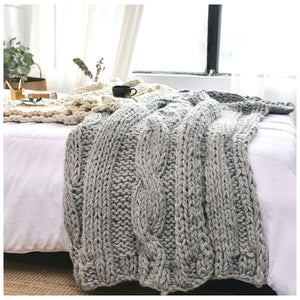 "DIY Knitting PATTERN - Triple Cable Throw Blanket / Rug 50"" x 60"""