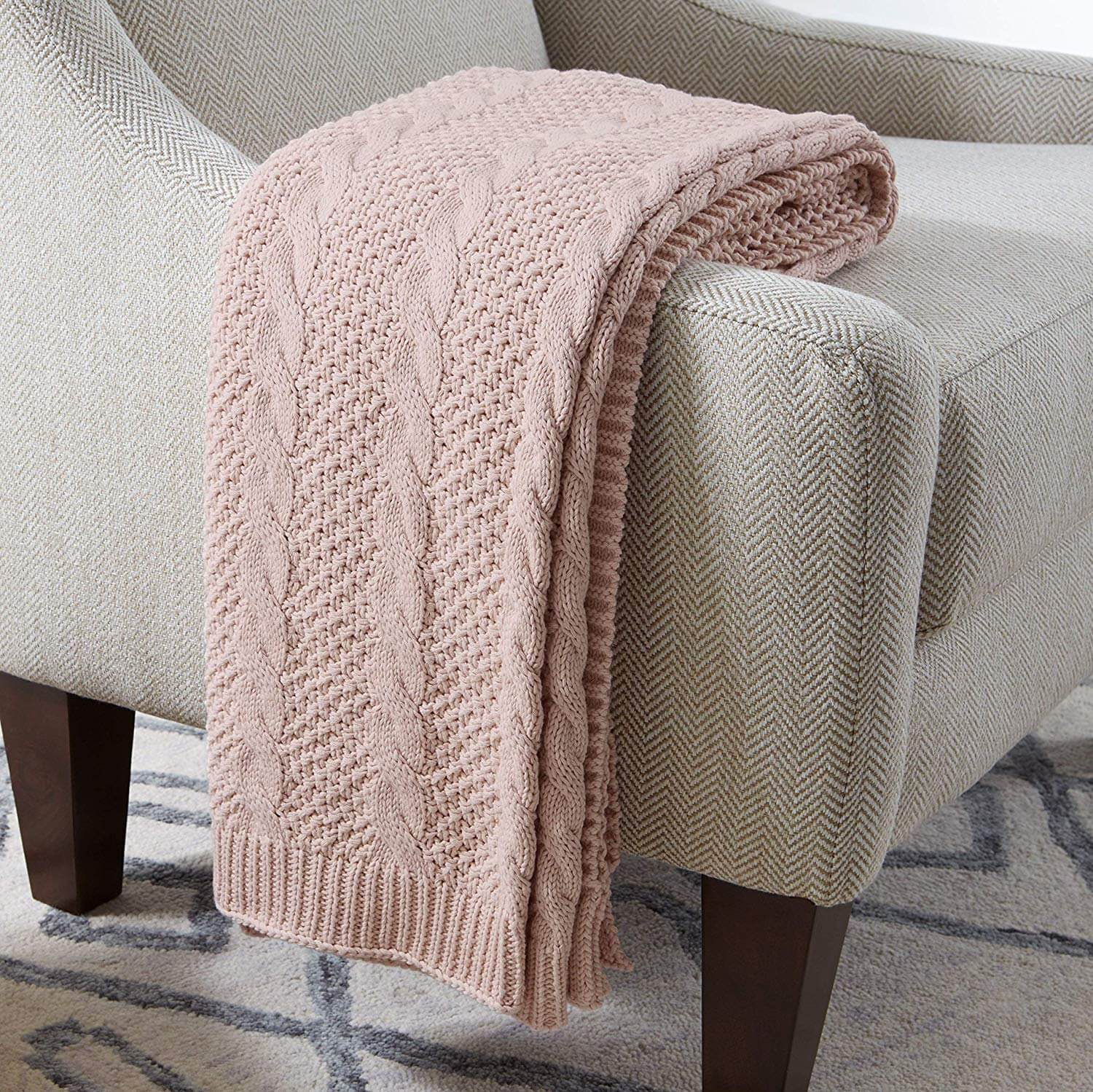 "Cotton Transitional Chunky Cable Knit Throw, 50"" x 70"""