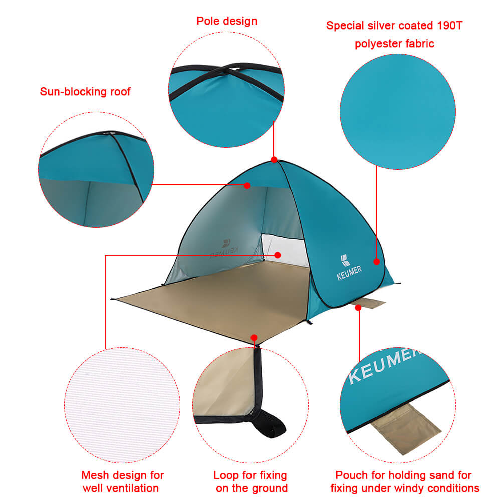 Large Beach Sun Shelter | Canopy Tent Blue