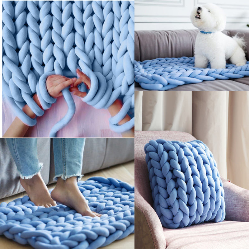 blue chunky Hand knitted Blanket
