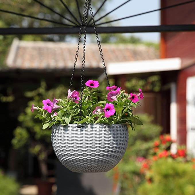 Resin Rattan Round Hanging Planter hanging Baskets flowers