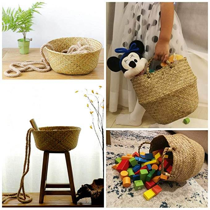 Natural Woven Planting basket|Handwoven Foldable Storage