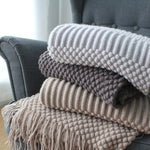"Tassels Knitted Blanket - 60""x70"""