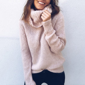 Long sleeve high collar pullover sweater