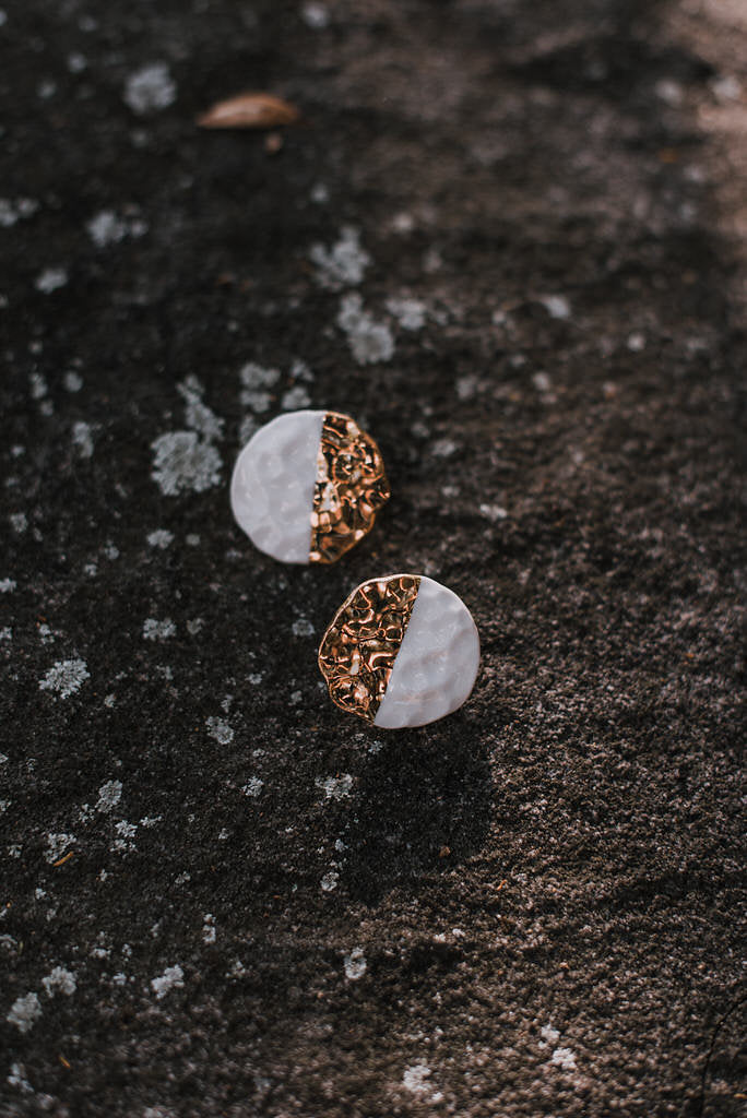 Round Hammered Earrings