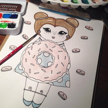 "Load image into Gallery viewer, Carrie Creampuff Illustration Print - 8.5""x11"" or 5""x7"""
