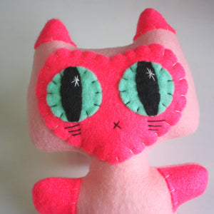 Pink Siamese Minou Kitty - Eco-friendly Felt Plush Kitty