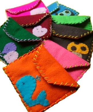 Custom Made Snap Pouch - Eco-friendly Felt Pouch/Wallet with your choice of colours and applique