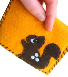 Squirrel and Acorn Snap Pouch - Eco-friendly Felt Wallet/Pouch