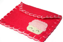 Load image into Gallery viewer, Hot Pink Cupcake Snap Pouch - Eco-friendly Felt Cupcake Wallet/Pouch