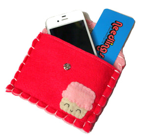 Hot Pink Cupcake Snap Pouch - Eco-friendly Felt Cupcake Wallet/Pouch