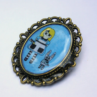 Alice and the White Rabbit Pin
