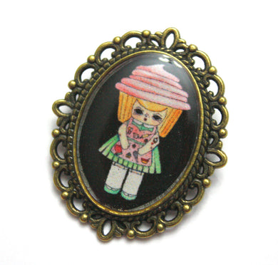 Pinky Frostina - Cupcake Girl Pin - Black or Blue