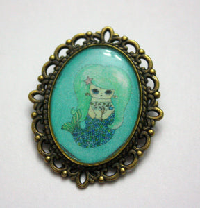 Ebi Temaki - Sushi Mermaid Girl Pin - Black or Blue