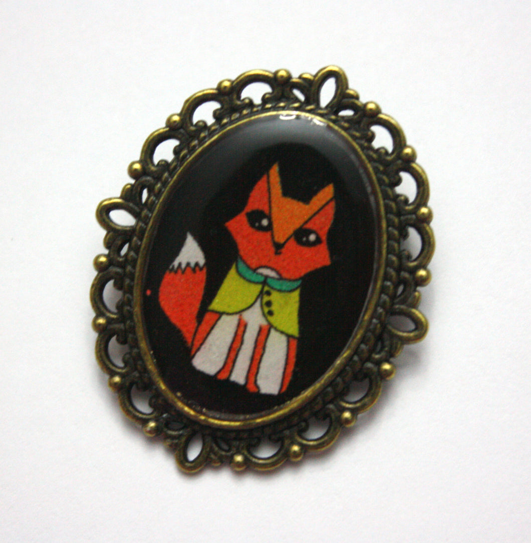 Shy Fox Pin