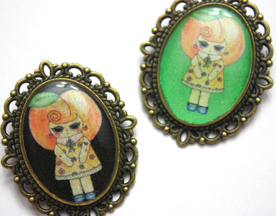 Belle Pitts - Peach Girl Pin - Black or Mint