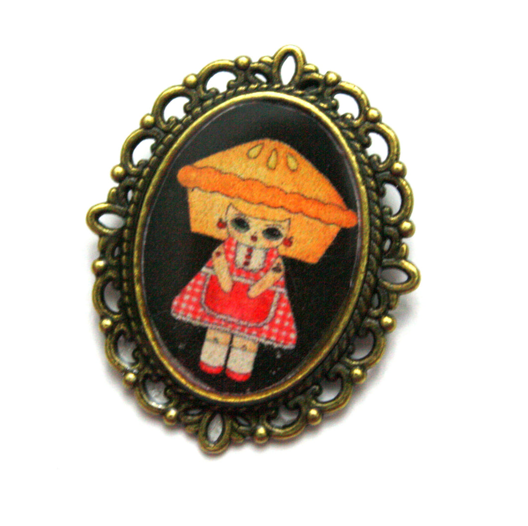 Penelope Gingham - Pie Girl Pin - Black or Mint