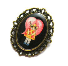 Load image into Gallery viewer, Pepper O'Neill - Pepperoni Pizza Girl Pin - Black or Blue