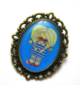 Connie Likovsky - Messy Ice Cream Girl Pin - Black or Blue