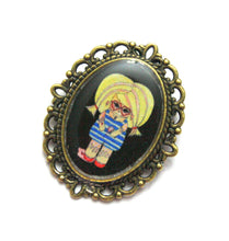 Load image into Gallery viewer, Connie Likovsky - Messy Ice Cream Girl Pin - Black or Blue