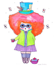 "Load image into Gallery viewer, The Hatter Illustration Print - 8.5""x11"" or 5""x7"""