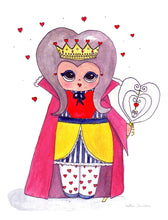 "Load image into Gallery viewer, The Queen of Hearts Illustration Print - 8.5""x11"" or 5""x7"""