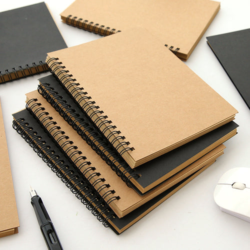 1 PCS Retro Kraft Coil Sketch Sketchbooks Graffiti Blank Notebook