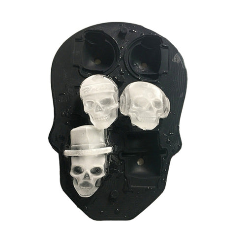 Hot Sale 3D Skull Ice Cube Mold With Lid Silicone Flexible Mold