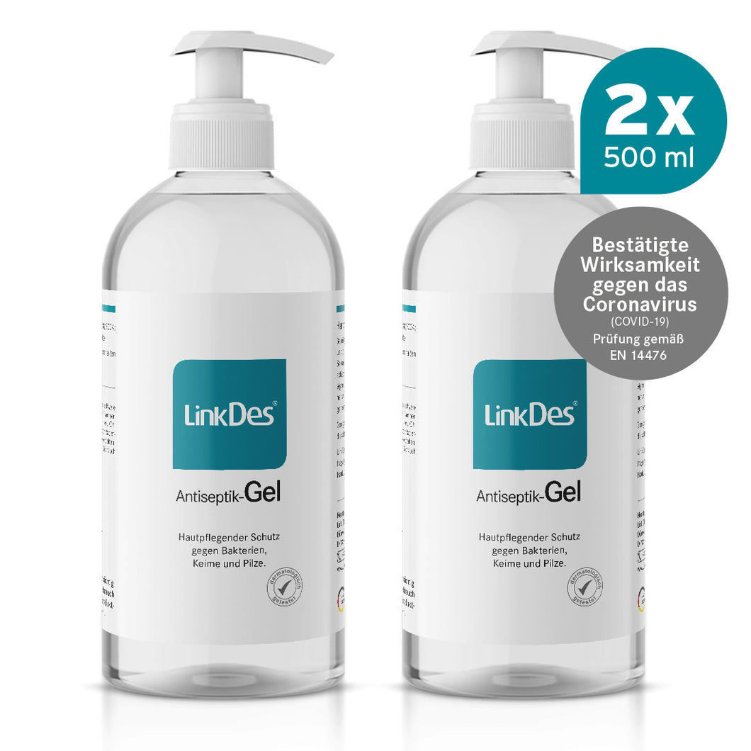 LinkDes Antiseptik Gel 500 ml Desinfektionsgel in Pumpspender Flaschen