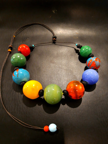 Multicolor blown necklace