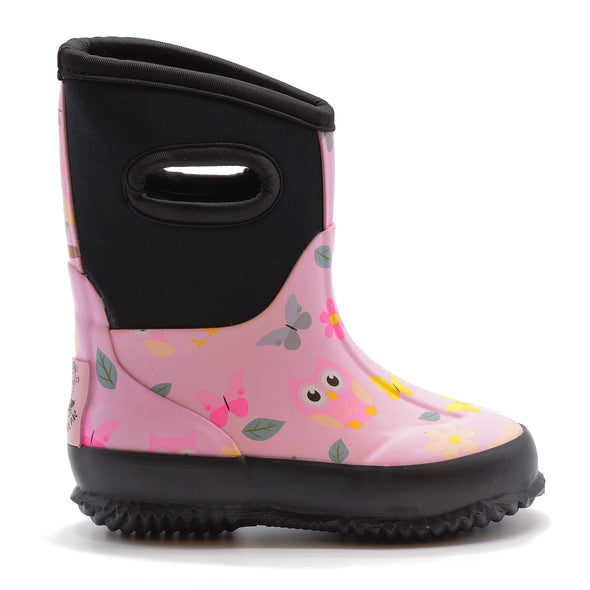 Neoprene Boot - Pink Owls