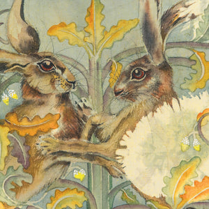 Hares in Wonderland - Boxing Hares - Greeting Card - S_07