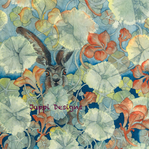 Hares in Wonderland - Nasturtium & Hare - Greeting Card - S_20