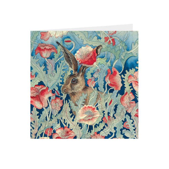 Hares in Wonderland - Poppies & Hare - Greeting Card - S_21
