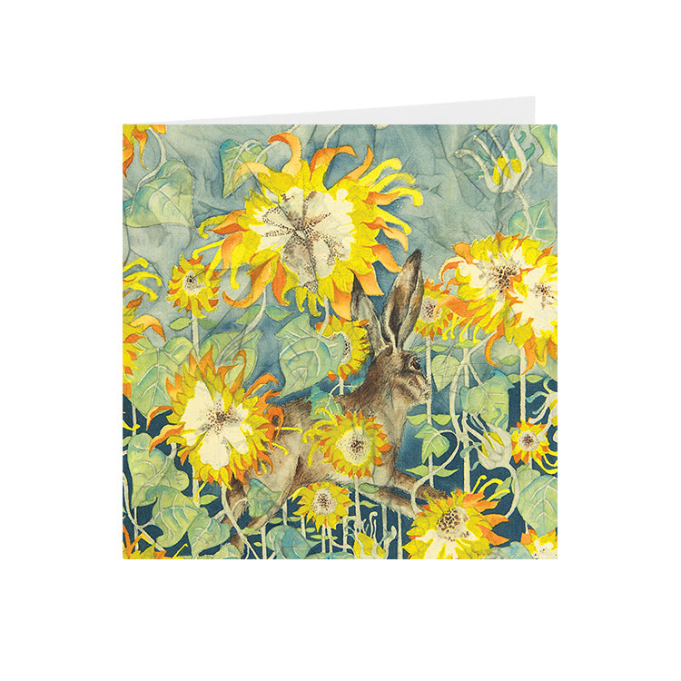 Hares in Wonderland - Sunflower & Hare - Greeting Card - S_22