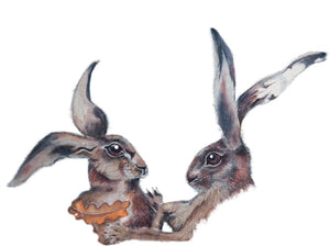 Hares in Wonderland - Boxing Hares - Greeting Card - S_25