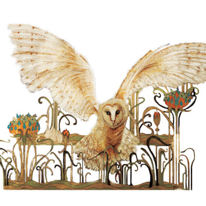 Owls in Wonderland - Barn Owl - Greeting Card - S_32