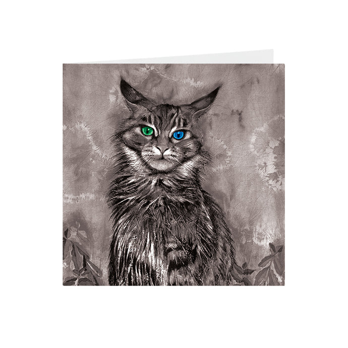 Cats - Green & Blue eyed - Greeting Card - S_49